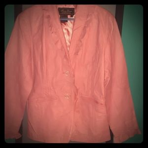 Terry Lewis Ruffled Pink Leather Jacket